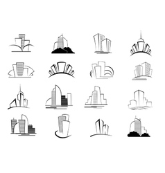 Set of stylized outline building icons vector image vector image