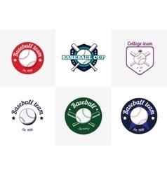 Set of vintage color baseball championship logos vector