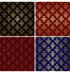 set of vintage patterns with gold tracery vector image vector image