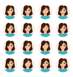 Set of woman emotions icons vector image vector image