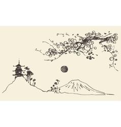 Sketch Fuji mountain pagoda blossoms Japan vector image vector image