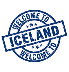 Welcome to iceland blue stamp vector