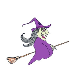 Witch flying on a broom vector