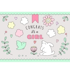 Greeting card for girl birthday vector image