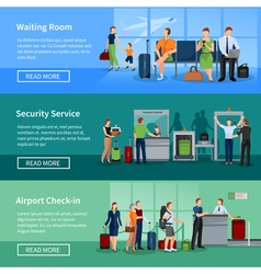 Airport people flat banners vector