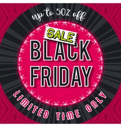 Black friday sale banner on red patterned backgrou vector