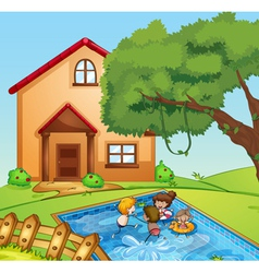 A house and kids vector