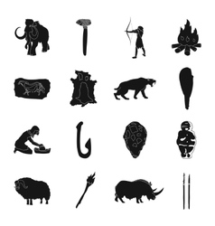 Stone age set icons in black style Big collection vector image