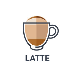 Coffee latte drink cup flat icon for cafe vector