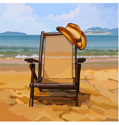 Chaise lounge with a hat on sandy beach vector