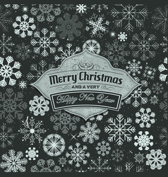 Merry christmas banner on seamless snowflakes vector