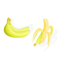 Three bananas and one half-the peeled vector