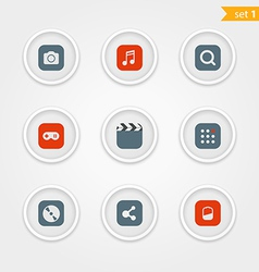 Color interface icons collection vector