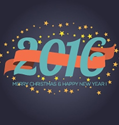 Happy new year 2016 ribbon with stars vector
