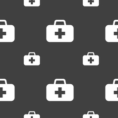 Medicine chest icon sign seamless pattern on a vector