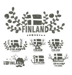 Collection of black and white labels of finland vector