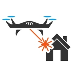 Laser drone attacks house icon vector