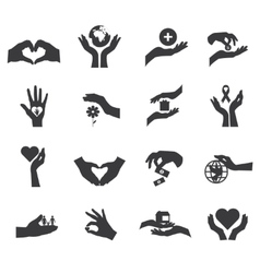 Hand Silhouette Flat Icon Isolated Set vector image
