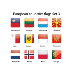 European countries flags set 3 vector