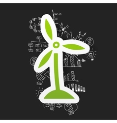 Drawing business formulas wind turbines vector