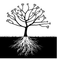 a tree with diamonds vector image
