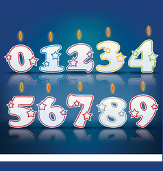 Birthday candle numbers vector image