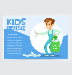Boy gathering plastic waste for recycling kids vector