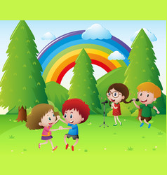 Children singing and dancing in park vector