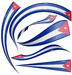 cuba flag set vector image vector image