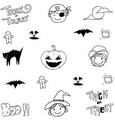 Cute element halloween in doodle vector