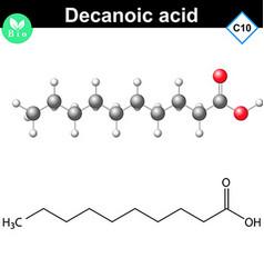 Decanoic acid atomic structure vector image