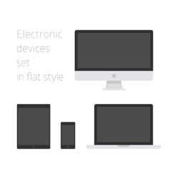 Electronic devices set in flat style vector image vector image