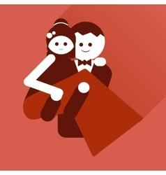 Flat icon with long shadow groom holds his bride vector