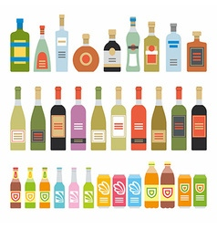 Flat icons alcoholic beverages vector