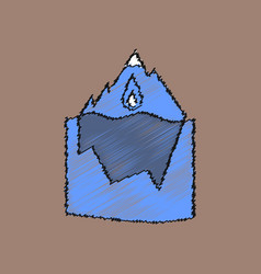 Flat shading style icon melted ice berg vector