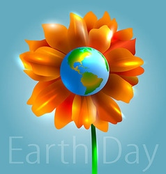 Flower and planet earth vector