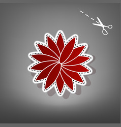 Flower sign red icon with for applique vector