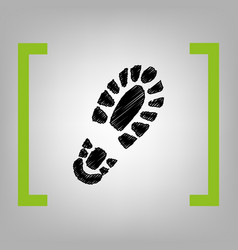 Footprint boot sign black scribble icon vector