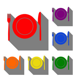 Fork knife and plate sign set of red orange vector