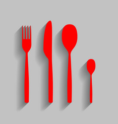 Fork spoon and knife sign red icon with vector