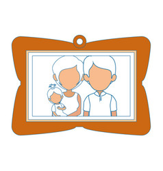 frame with family picture icon vector image
