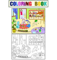 kindergarten coloring book for children cartoon vector image vector image