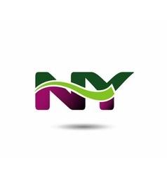 Letter N and Y monogram logo vector image