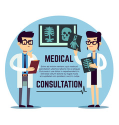 Male and female young doctors diagnosis - medical vector