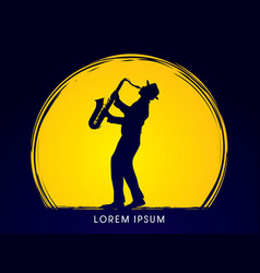 man playing saxophone graphic vector image vector image