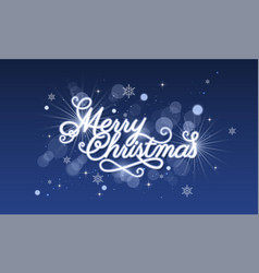 merry christmas greeting card blue glowing vector image