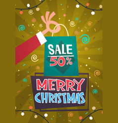 merry christmas sale discount seasonal promotion vector image