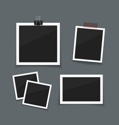 photo frames sticked with tape and hanged vector image