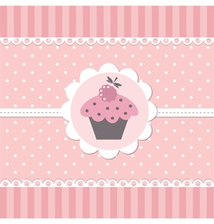 Pink baby background with cupcake vector