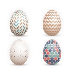 Realistic 3D Easter Egg Set Happy Easter vector image vector image
